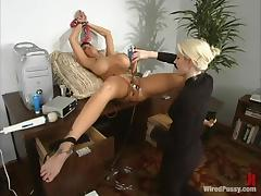 Horrific unreserved less famous boobs gets toyed rough in an office