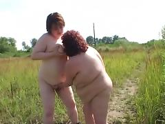 Country side BBW ladies are making out in a lesbian sex