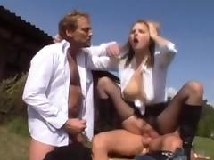 Pretty blonde in boots gets sex in the country