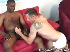 Glorious Finn Daniels Masturbates A Black Guy Over A Couch