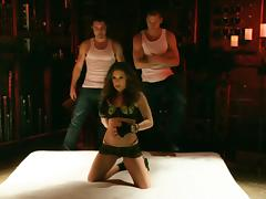 Gracie Glam gets her pussy and ass fucked hard by two men