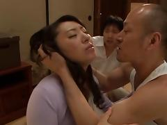 Aya Kitagawa nasty Asian mature chick in threesome DP