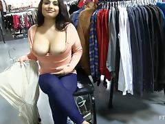 Charming Rikki Flashes Her Big Boobs In A Clothes Store