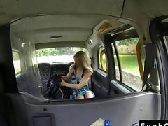 Blonde gives rimjob in fake taxi