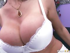 Eva Karera lets Mick Blue rub her big fake boobs before they fuck