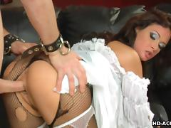 Sexy brunettes Jennifer Dark and Tory Lane satisfy three men
